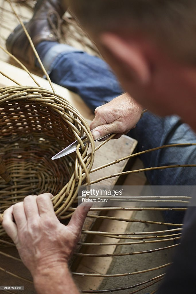 Basket maker at work : Stock Photo