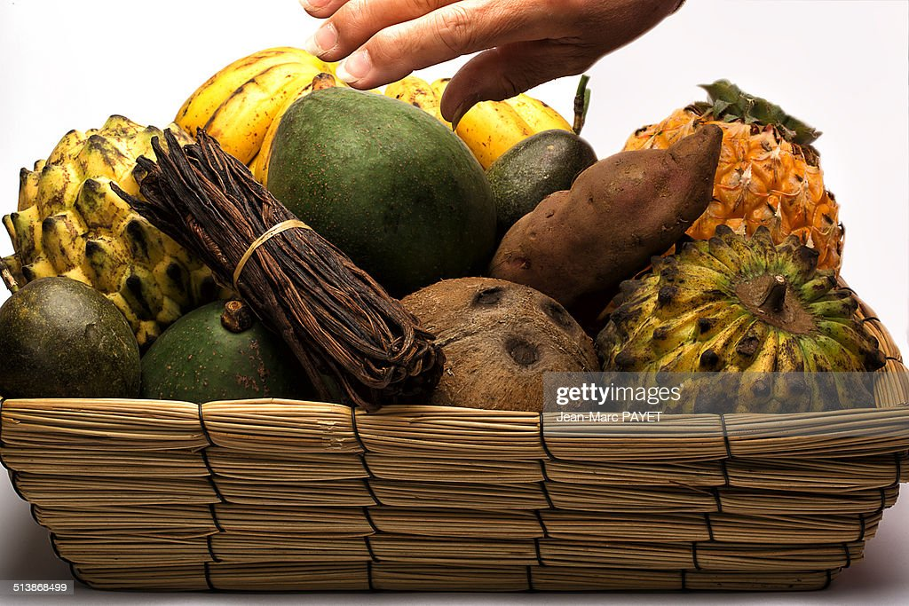 Basket of assorted exotic fruits : ストックフォト
