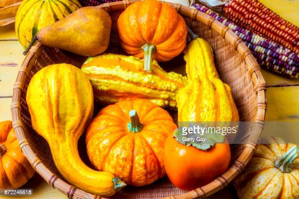 Basket Of Autumn Gourds And Fruits