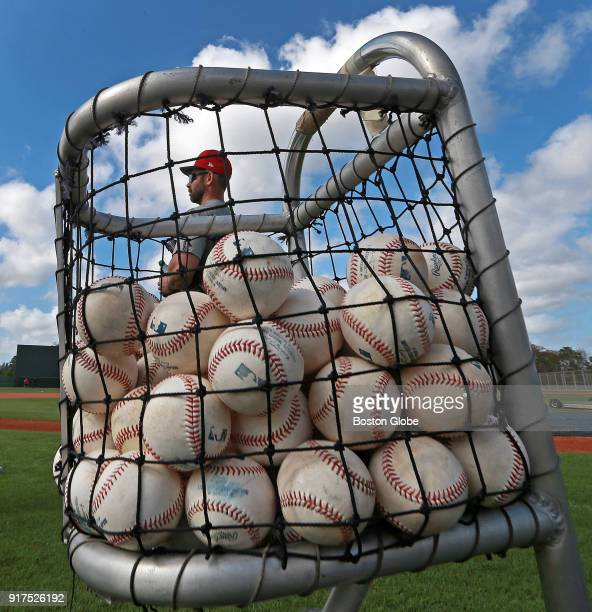 A basket of baseballs is pictured during Boston Red Sox spring training at the Player Development Complex at Jet Blue Park in Fort Myers Fl on Feb 12...