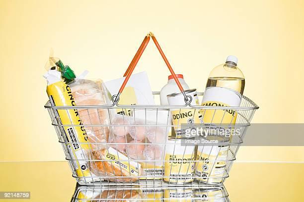 Basket of basic groceries