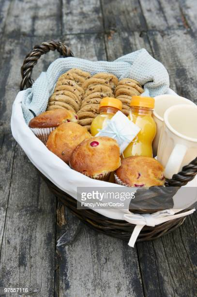 Basket of breakfast foods