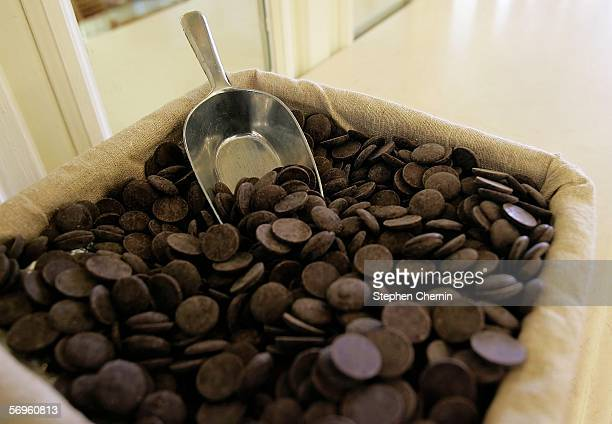 A basket of chocolate rests on a counter at the MarieBelle store February 28 2006 in New York City A study conducted at Wageningen University in the...