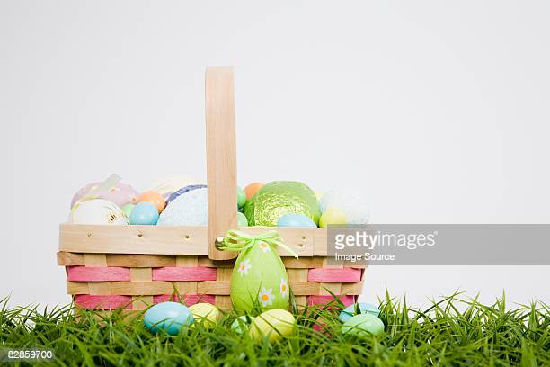 Basket of easter of eggs