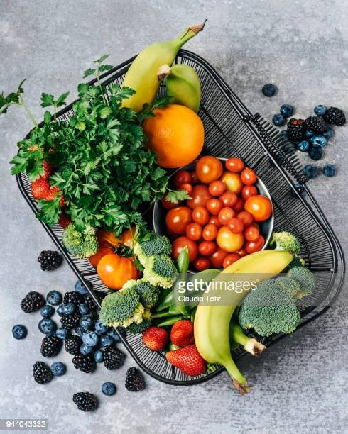 a basket of fresh vegetables, and fruits - basket stock photos and pictures