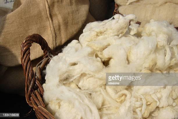 Basket of freshly sheared wool