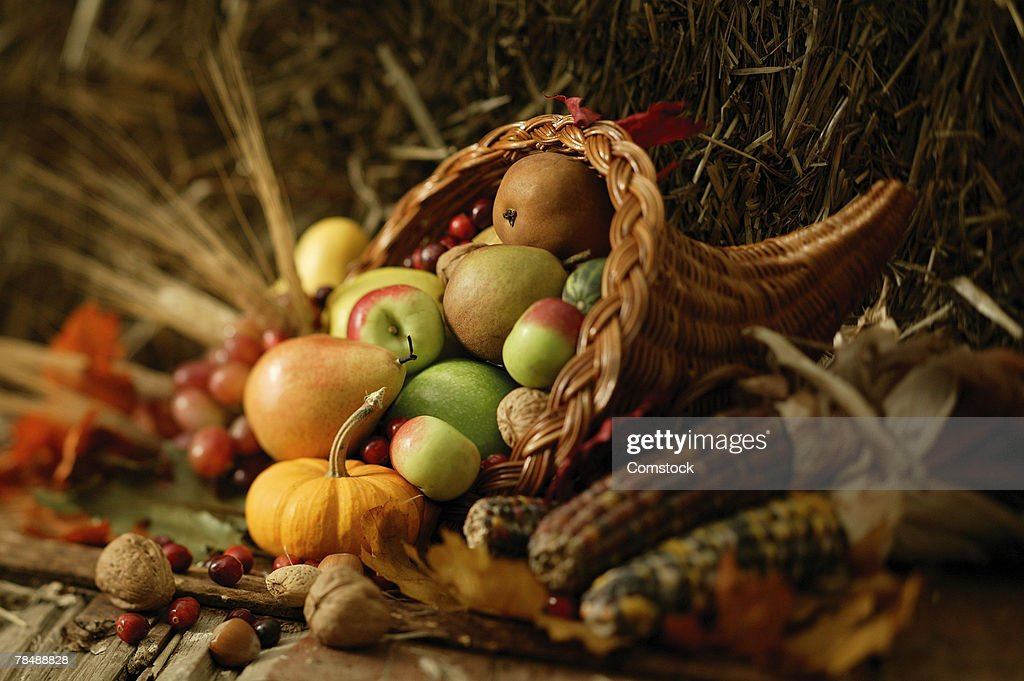 Basket of fruits and vegetables : Stock Photo