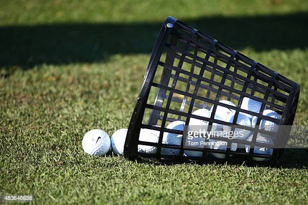 A basket of golf balls is seen on the range during a practice round prior to the 2015 PGA Championship at Whistling Straits on August 11 2015 in...