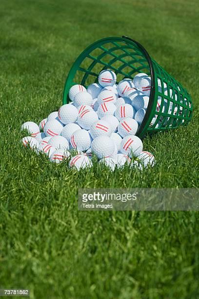 Basket of golf balls spilling onto grass