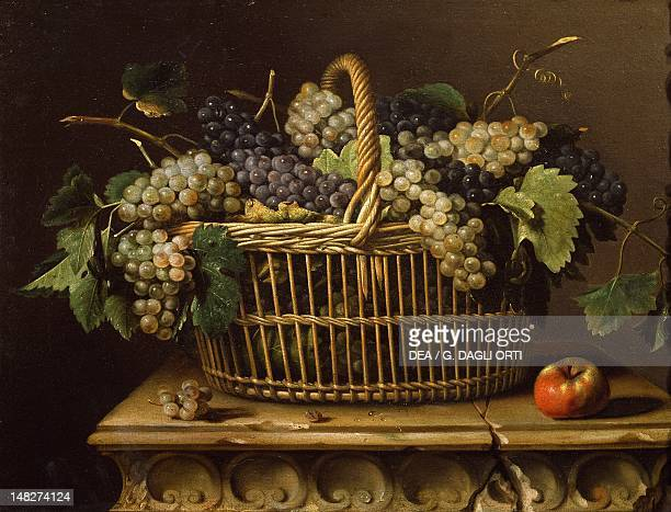 Basket of grapes by Pierre Dupuis oil on canvas Paris Musée Du Louvre