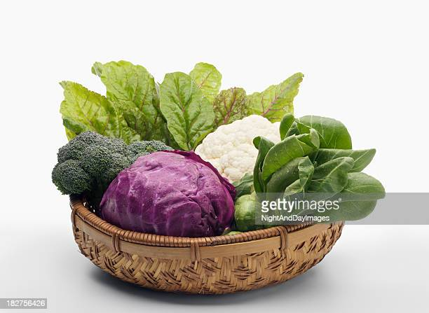 basket of healthy vegetables - xxxl - crucifers stock pictures, royalty-free photos & images