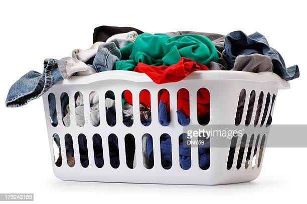 Basket of laundry on white background