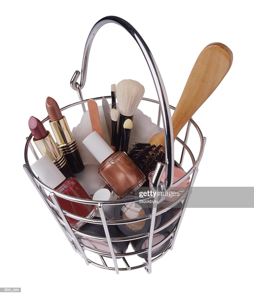 Basket of makeup and accessories : Stock Photo