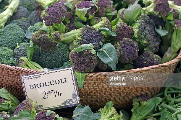 Basket of purple and green broccoli