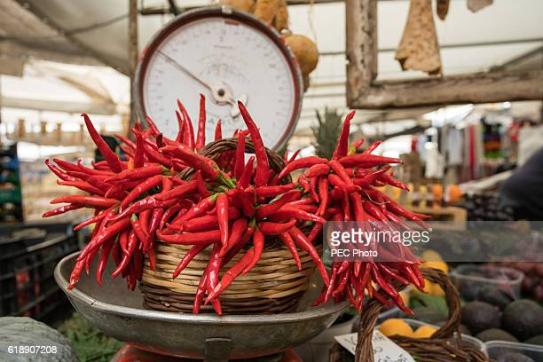 Basket of red chili peppers