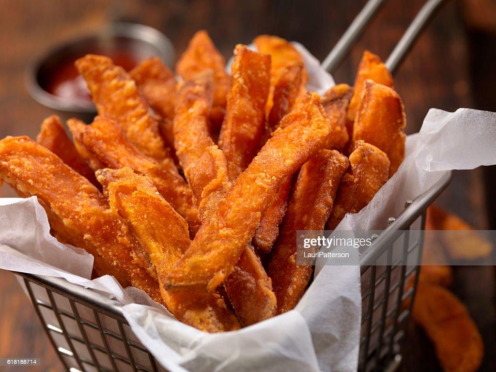 Basket of Sweet Potato French Fries : Stock Photo
