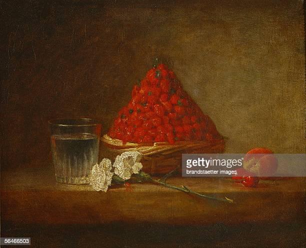 A basket of wild strawberries Oil on canvas France [Ein Korb mit Erdbeeren oel auf Leinwand Frankreich]