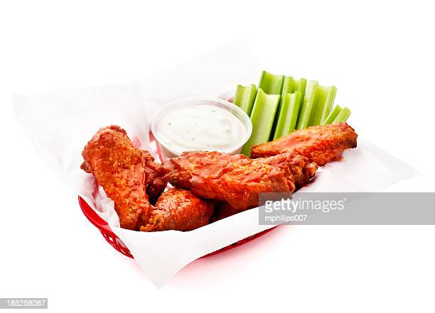 basket of wings - chicken wings stock pictures, royalty-free photos & images