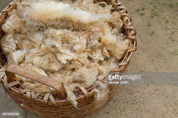 basket of wool - sturbridge stock photos and pictures
