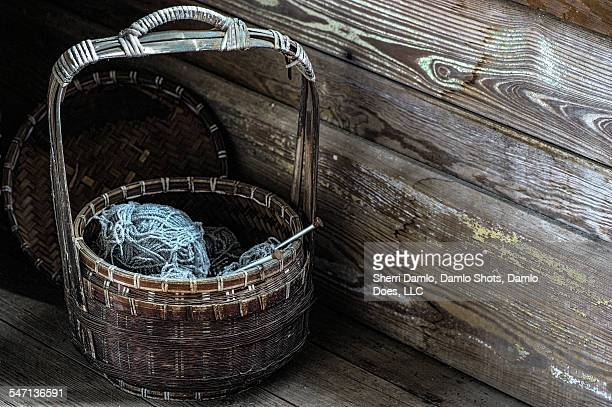 basket of yarn - damlo does stock pictures, royalty-free photos & images