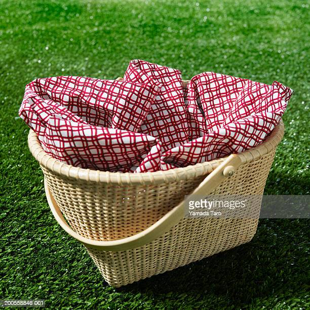 basket on grass - picnic basket stock pictures, royalty-free photos & images