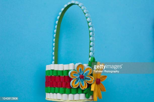 Basket origami with flowers