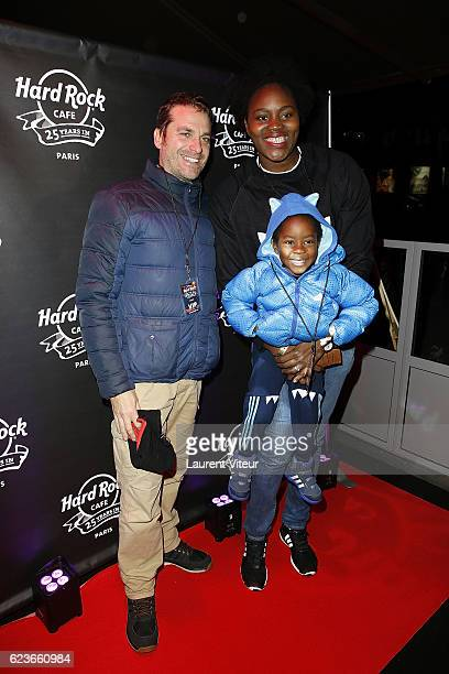 Basket Player Isabelle Yacoubou and his husband Simone Fulciniti and his son attend 'Hard Rock Cafe Paris 25th Anniversary Celebration' at Hard Rock...