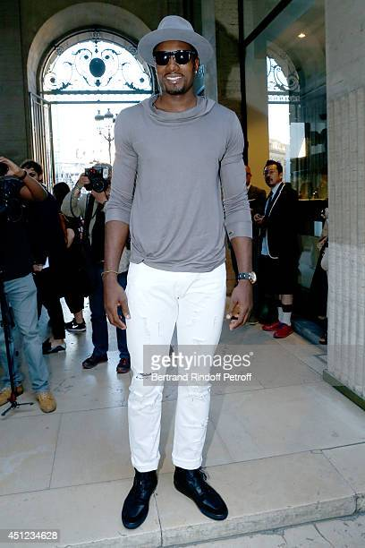 Basket player of New York Knicks Amare Stoudemire attends the Raf Simons show as part of the Paris Fashion Week Menswear Spring/Summer 2015 on June...