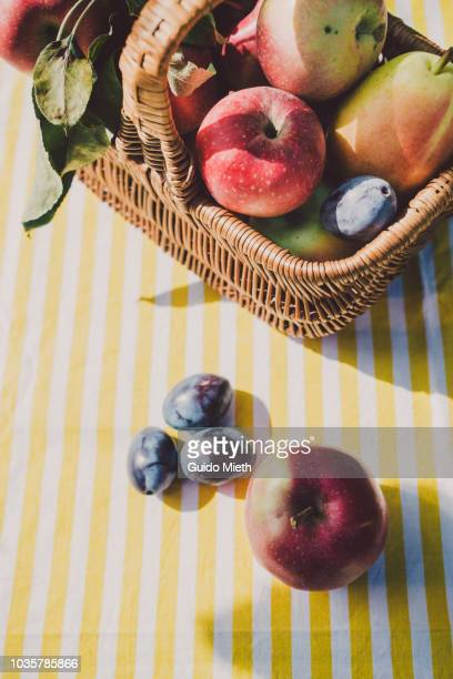 Basket with fruits on a table in sunlight.