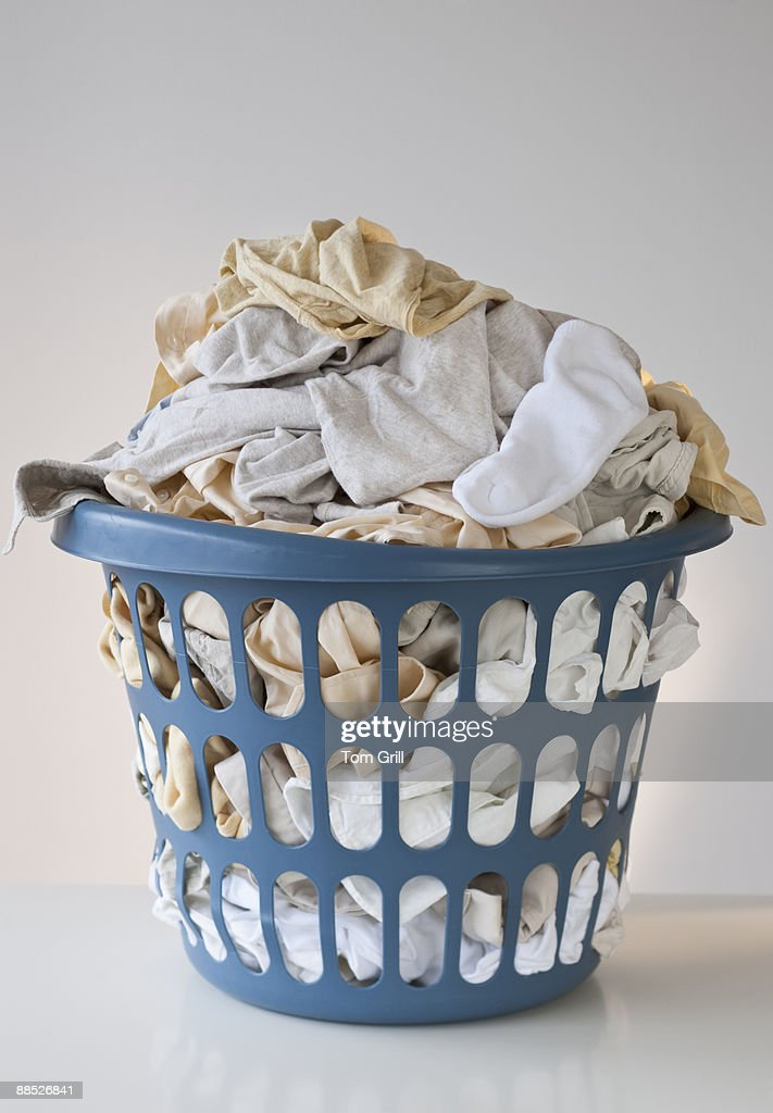 Basket with laundry : Stock Photo