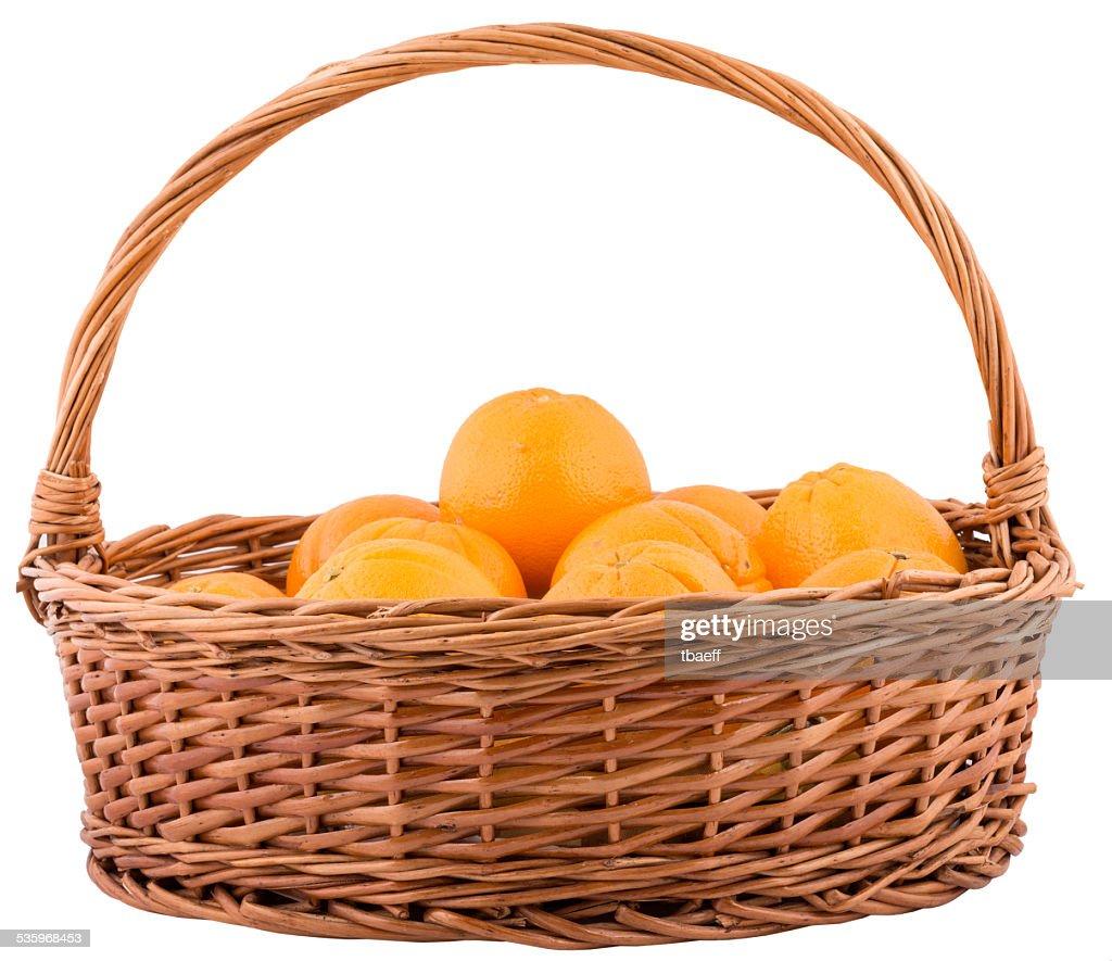 basket with oranges isolated : Stock Photo