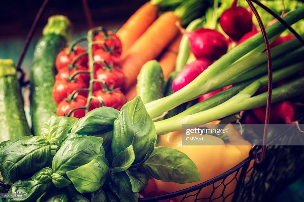 Basket With Organic Vegetables Fresh From Market : Stock Photo