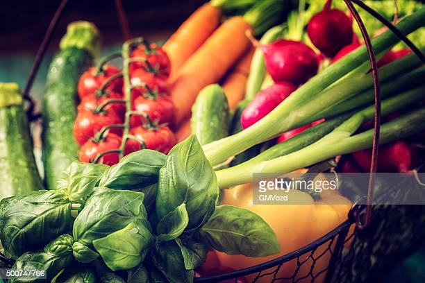 basket with organic vegetables fresh from market - basket stock photos and pictures