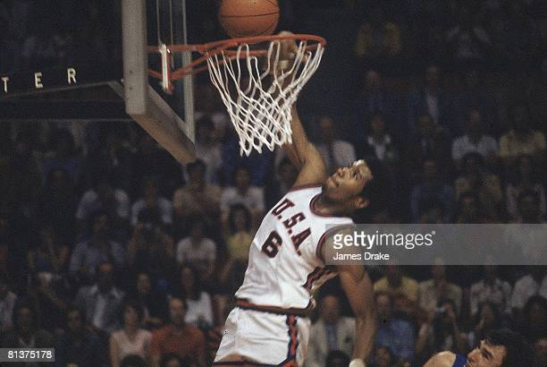 Basketball: 1976 Summer Olympics, USA Adrian Dantley in action, making dunk vs Yugoslavia , Montreal, Canada 7/17/1976--8/1/1976