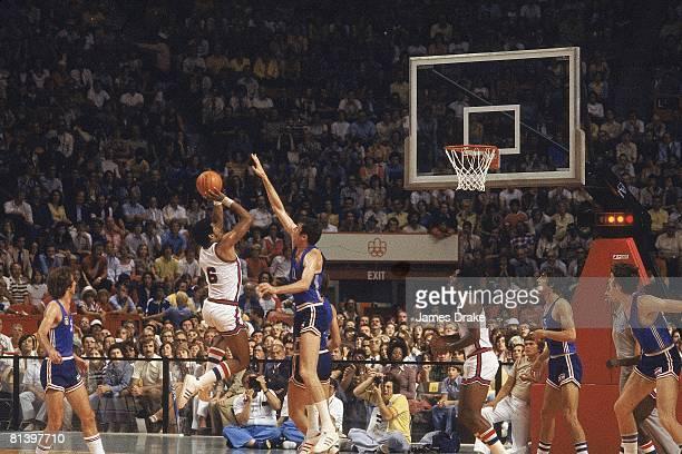 Basketball 1976 Summer Olympics USA Adrian Dantley in action taking shot vs Yugoslavia Montreal Canada 7/17/19768/1/1976