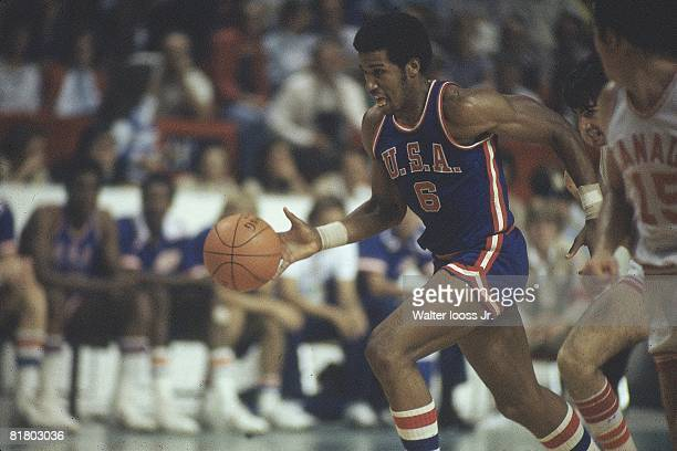 Basketball 1976 Summer Olympics USA Adrian Dantley in action vs Canada Montreal CAN 7/17/19768/1/1976