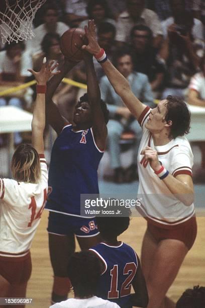 Summer Olympics: USA Lusia Harris in action, shot vs USSR Ujana Semjonova at Centre Etienne Desmarteau. Montreal, Canada 7/23/1976 CREDIT: Walter...