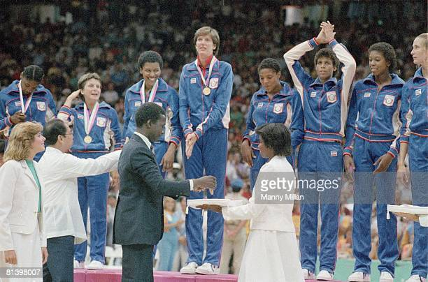 Basketball 1984 Summer Olympics USA Anne Donovan victorious with team after winning gold medal Los Angeles CA 7/28/19848/12/1984