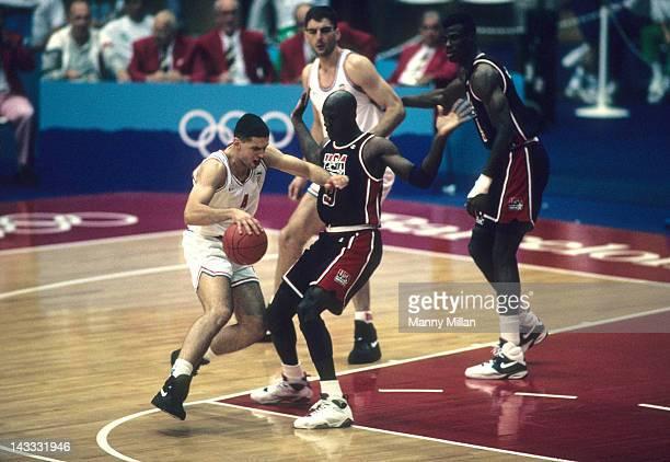 1992 Summer Olympics Croatia Drazen Petrovic in action vs USA Michael Jordan during Men's Group A game at Pavello Olimpic de Badalona Dream Team...