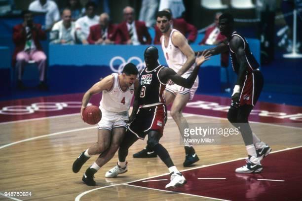 best service d12fa 49640 1992 Summer Olympics Croatia Drazen Petrovic in action vs USA Michael Jordan  during Men s Group A