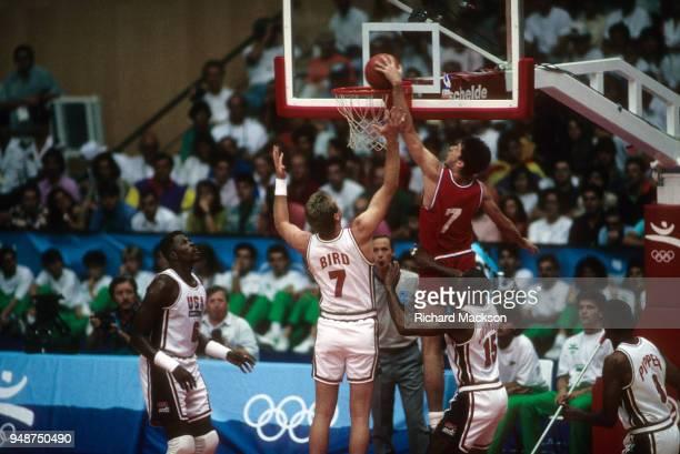 1992 Summer Olympics Croatia Toni Kukoc in action dunk vs USA Larry Bird during Men's Gold Medal game at Pavello Olimpic Dream Team Badalona Spain...