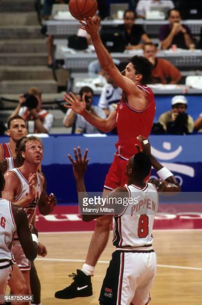 1992 Summer Olympics Croatia Toni Kukoc in action shot vs USA during Men's Gold Medal game at Pavello Olimpic Dream Team Badalona Spain 8/8/1992...