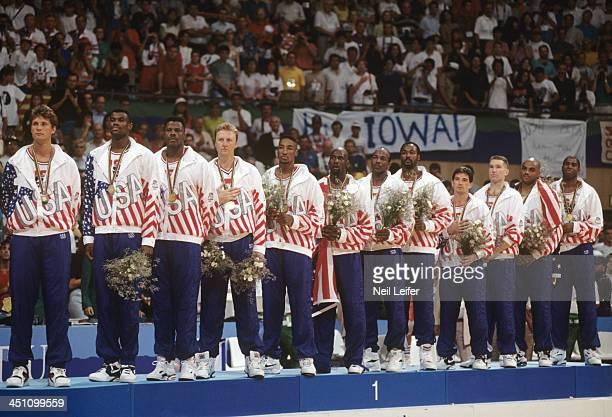 1992 Summer Olympics Team USA Christian Laettner David Robinson Patrick Ewing Larry Bird Scottie Pippen Michael Jordan Clyde Drexler Karl Malone John...