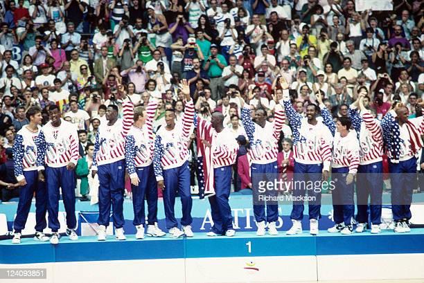 1992 Summer Olympics USA Christian Laettner David Robinson Patrick Ewing Larry Bird Scottie Pippen Michael Jordan Clyde Drexler Karl Malone John...