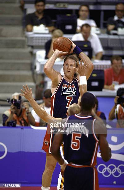 1992 Summer Olympics USA Larry Bird in action shot vs Germany during Men's Group A game at Pavello Olimpic Dream Team Badalona Spain 7/29/1992 CREDIT...