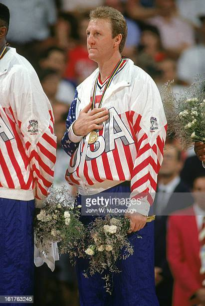 1992 Summer Olympics USA Larry Bird victorious with medal after winning Men's Gold Medal game vs Croatia at Pavello Olimpic Dream Team Badalona Spain...