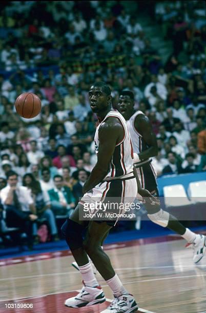 1992 Summer Olympics USA Magic Johnson in action vs Croatia during Men's Gold Medal Game at Pavello Olimpic de Badalona Dream Team Badalona Spain...