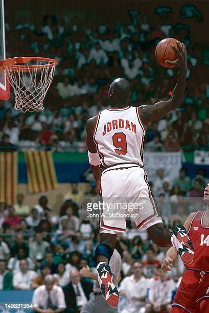 1992 Summer Olympics USA Michael Jordan in action dunk vs Croatia during Men's Gold Medal Game at Pavello Olimpic de Badalona Dream Team Badalona...