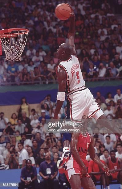 Basketball 1992 Summer Olympics USA Michael Jordan in action making dunk vs Angola Badalona Spain 7/26/1992