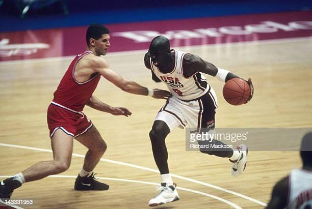 1992 Summer Olympics USA Michael Jordan in action vs Croatia Drazen Petrovic during Men's Gold Medal Game at Pavello Olimpic Dream Team Badalona...